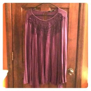 Boutique Purple Blouse with Bell Sleeves